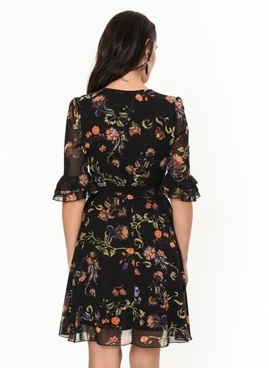Çiçekli Şifon Elbise-İroni
